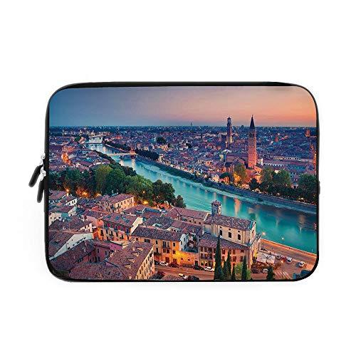 (European Laptop Sleeve Bag,Neoprene Sleeve Case/Verona Italy During Summer Sunset Blue Hour Adige River Medieval Historcal/for Apple MacBook Air Samsung Google Acer HP DELL Lenovo AsusAqua Co)