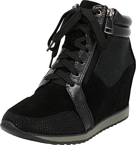 Print Wedge Animal (Cambridge Select Women's Closed Toe Mixed Media Glitter Lace-Up Side Zip Fashion Sneaker Wedge,8.5 B(M) US,Black)