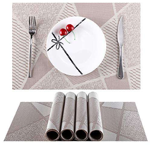 Placemats for Kitchen Table Set of 6,Heat-Resistant Placemats Stain Resistant Anti-Skid Washable PVC Table Mats Woven Vinyl (Table Patio Skid)
