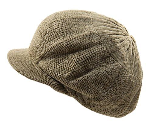 NY Knit Cotton Beanie Visor (Khaki)