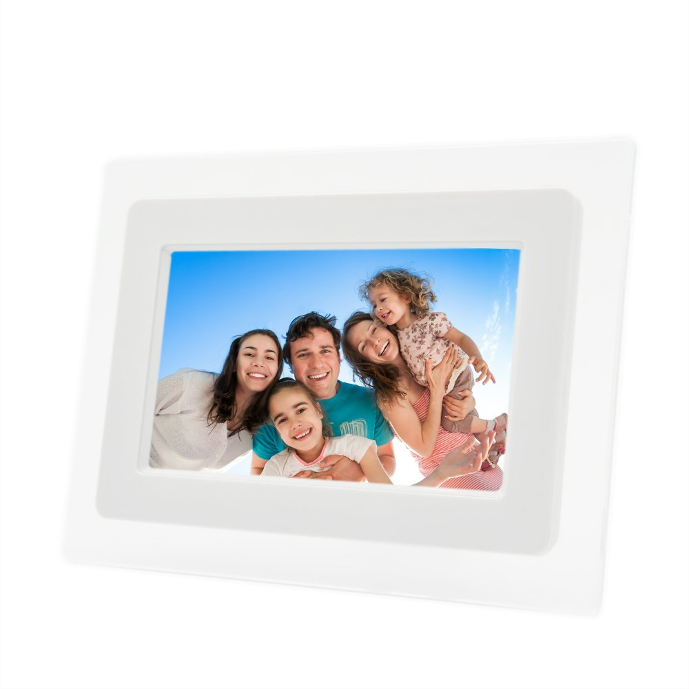 7 Inch TFT LCD Wide Screen Digital 2000 Photos Display Frame with Calendar Support Tf Sd/Sdhc /Usb Flash Drives(white)- Support 32GB SD Card Fding Fd-pf
