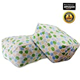 Childmate Quilt Storage Bag for Closet Comforter Bedding Blanket Clothes Waterproof Moisture-proof Flax & Cotton with Zippers Handle 2 pack(L.XL) (Apple tree)