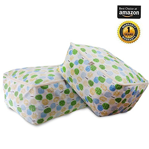 Childmate Quilt Storage Bag for Closet Comforter Bedding Blanket Clothes Waterproof Moisture-proof Flax & Cotton with Zippers Handle 2 pack(L.XL) (Apple tree) by Childmate