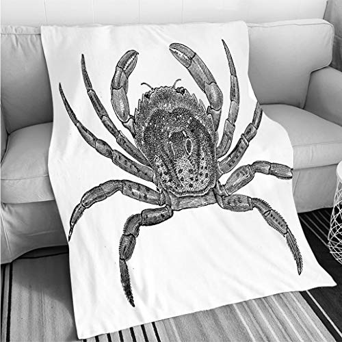 BEICICI Super Soft Throw Thicken Blanket Antique Illustration of Common Shore Crab (Carcinus maenas) Sofa Bed or Bed 3D Printing Cool Quilt