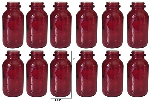 Farmhouse Milk Bottle Vase - Inspired by the Vintage Milk Bottle - 7 Inches Tall (Red/12Pk)