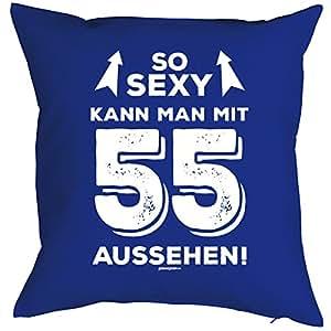 Almohada con un moderno Cumpleaños Diseño: So Sexy se puede con 55aspecto.–Sofá Cojín–Regalo–Color Azul