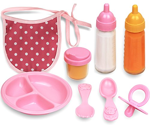 Click N' Play 8 Piece Baby Doll Feeding Set With (Dish Feeding Accessories)