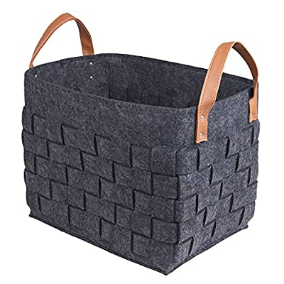 BOLDMONKEY Storage Basket Laundry Basket Durable Felt Basket (Black),Send a Shopping Bag. - MULTIFUNCTIONAL STORAGE BASKET: used for storing clothes, children's toys, daily necessities, books, tools, etc FITS VARIOUS SCENES: bedrooms, children's rooms, closets, bathrooms, living rooms, decorative storage baskets can even be set in car trunks. Large size with 15x11x13in ,easy to clean, hand washable. RENEWABLE MATERIALS: the material is non-toxic,environmental protection soft and comfortable. It's your best choice. - living-room-decor, living-room, baskets-storage - 51r1d84J7jL. SS400  -