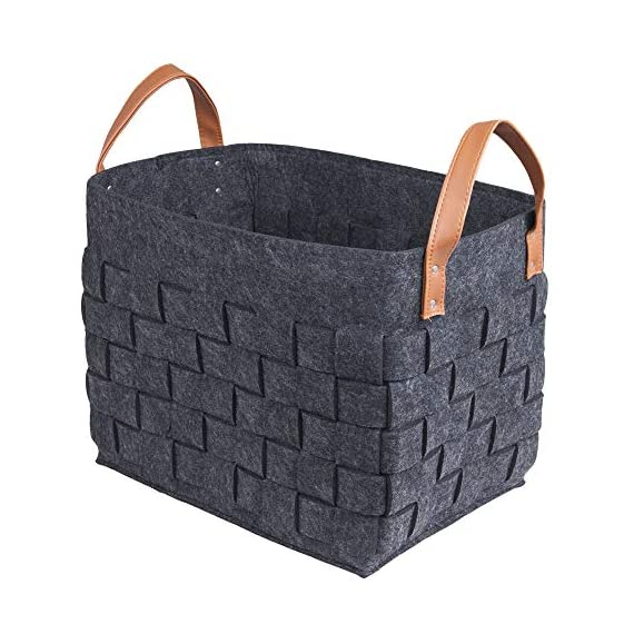 """boldmonkey Storage Basket Laundry Basket Nursery Bin Basket Durable Felt Basket Decorative Woven Black Basket(15""""x13""""x11"""" XXL) - MULTIFUNCTIONAL STORAGE BASKET: used for storing clothes, children's toys, daily necessities, books, tools, etc FITS VARIOUS SCENES: bedrooms, children's rooms, closets, bathrooms, living rooms, decorative storage baskets can even be set in car trunks. Large size with 15x11x13in ,easy to clean, hand washable. RENEWABLE MATERIALS: the material is non-toxic,environmental protection soft and comfortable. It's your best choice. - living-room-decor, living-room, baskets-storage - 51r1d84J7jL. SS570  -"""