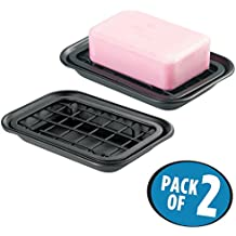 mDesign 2-Piece Soap Dish Tray for Kitchen Sink Countertops: Drainer and Holder for Soap, Sponges - Drainage Grid with Tray - Pack of 2, Rust Resistant Stainless Steel Metal in Matte Black Finish