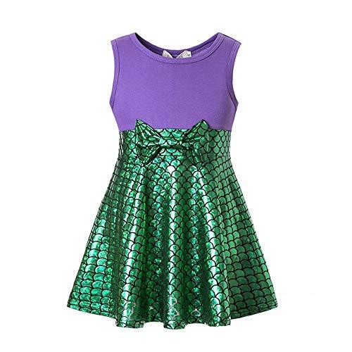Tinkerbell Cosplay Dress (Girls Mermaid Dress Little Mermaid Dress Ariel Costume Cartoon Outfit Playwear Birthday Party Cosplay (Purple,)