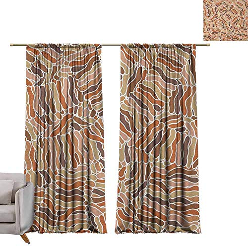 "Thermal Insulated Blackout Curtains Tan and Brown,Hand Drawn Style Abstract Waves Pattern Intersecting Tangled Structure Print, Multicolor W96"" x L96"" Thermal Insulated Room Darkening Window Shade from berrly"