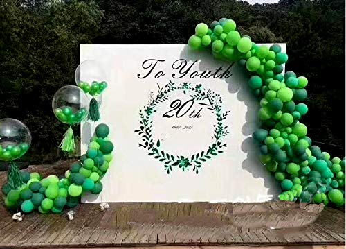 100Pack Green Balloons, 12Inch Green Latex Balloons Premium Helium Quality Dark Green Balloons Light Greeen Balloons for Party Supplies and Decorations(with Green Ribbon) by Y wang (Image #4)