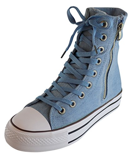 M Fashion Up B Black Sneaker Lace Light Extra Top Hi 5 Cap US Casual Zipper Women S Toe azul 3 's w7Z4q00a
