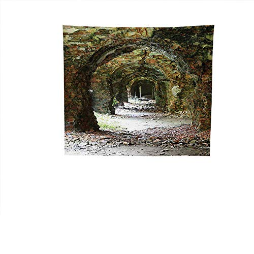 Apestry Home Decor (47W x 47L Inch Wall Hanging Bedroom Living Room DormRustic Home Decor Ruins Arched Medieval Period Brick Tunnel Architecture Heritage Design ES Grey Red.