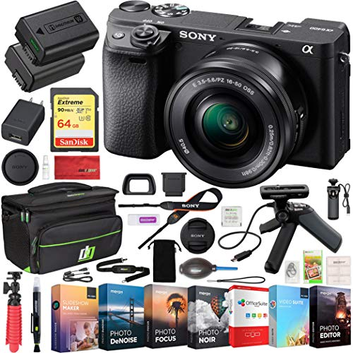 Sony ILCE-6400L a6400 Mirrorless APS-C Interchangeable-Lens Camera with 16-50mm Lens Bundle with 64GB Memory Card, Shooting Grip with Mini Tripod, Editing Suite, Camera Bag and Camera Battery