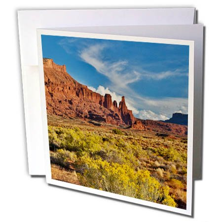 3dRose Danita Delimont - Deserts - Fisher Towers, Utah in evening light - 12 Greeting Cards with envelopes (White Fisher 12 Light)