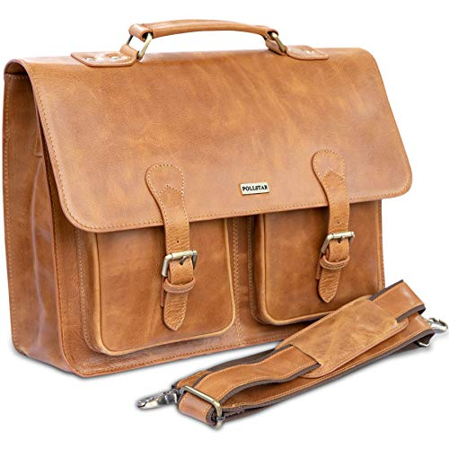 POLLSTAR 15 Inch Retro Buffalo Hunter Leather Laptop Messenger Bag Office Briefcase College Bag  MB9995TN