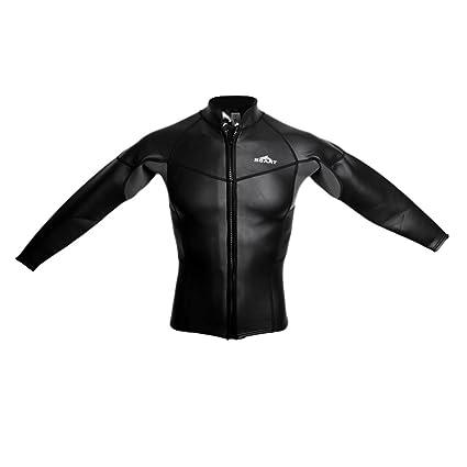 MagiDeal Mens 2mm Black Neoprene Long Sleeved Wetsuit Top Front Zipper  Jacket Rash Guard Shirts for ba2ff2960
