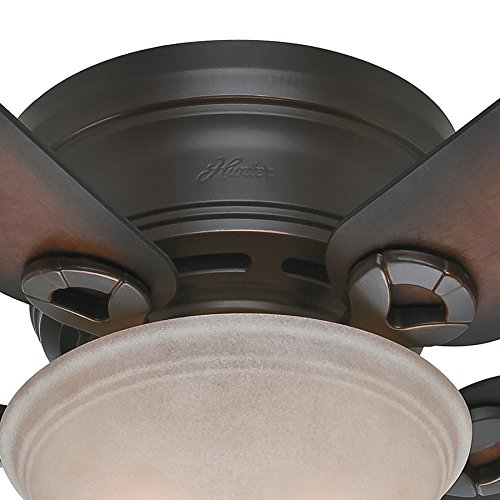 Hunter Fan 42 inch Low Profile Ceiling Fan in Snow White with Light Kit, 5 Blade Renewed Onyx Bengal