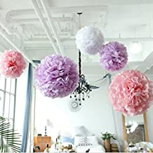 9-Pack Tissue Paper Flowers, Crafts White Pink and Lilac Pom Poms for Bachelorette Bridal Party, Baby Shower, Wedding Decorations, Birthdays, Valentines
