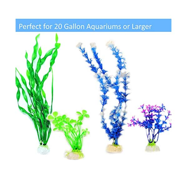Otterly Pets Plastic Plants for Fish Tank Decorations Large Artificial Aquarium Decor and Accessories - 8-Pack 6