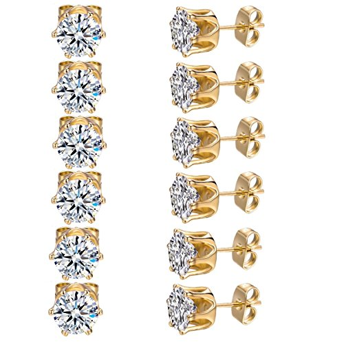- MDFUN 6 Pairs 4mm 18K Yellow Gold Plated Round Cubic Zirconia Stud Earring Pack of 6