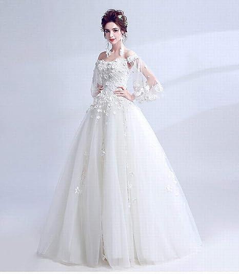 6f04d89b15f1 YT-RE Abito da Sposa Principessa Moda Organza Wedding Flower Tromba Manica  Senza Spalline Abito