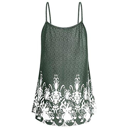 Comfy Camisoles Femmes Gray Tunique Mode Rservoir Ample Bretelles Imprim t de Doux Tops green Spaghetti Zhuhaitf qznwfvHxA