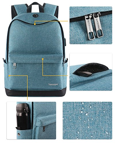 High School Backpack, Middle Student Bag with USB Port for Men Women Teen, Causel Basic Bookbag Fits 15.6 Inch Laptop/Notebook Designed for Travel Work Study - Purplish Blue by Vancropak (Image #3)