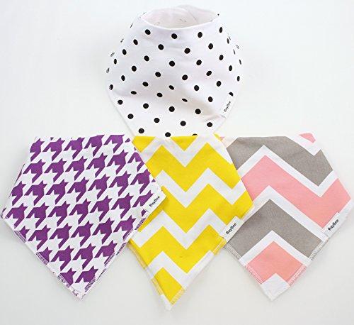 4 BayBee Bandana Baby Bibs, Girls Pack, Soft Cotton w/ Snaps, Cute Baby Gift