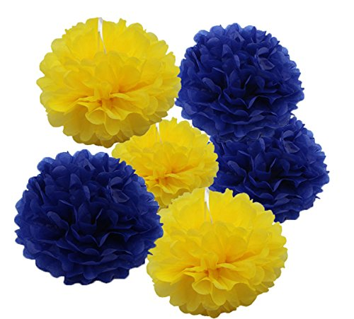 HEARTFEEL 6pcs Tissue Paper Pom Poms Navy Blue and Yellow Party Decorations Flower Ball for Graduation Wedding Party Bridal Baby Shower Wall Table -