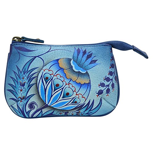 Anuschka Women's Leather Coin Purse | Genuine Soft Leather | Hand-painted Original Art | Bewitching Blues