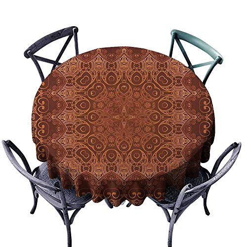 (G Idle Sky Antique Washable Table Cloth Vintage Lacy Persian Arabic Pattern from Ottoman Empire Palace Carpet Style Art Easy Care D67 Orange Brown)