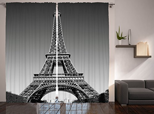 (Ambesonne Eiffel Tower Curtains, Paris Landmark Monochrome Picture of Cityscape European Urban Famous Place Image, Living Room Bedroom Window Drapes 2 Panel Set, 108 W X 90 L Inches, Grey Black)