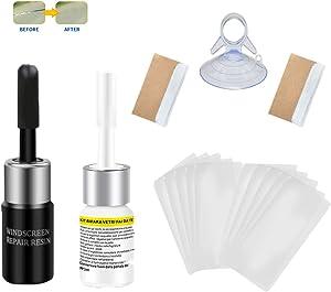 Shaboo Prints Glass Windshield Crack Repair Kit Scratch Chip Cracks Nano Repair Fluid Kit fit car or Home Window Glass (1Black+1White+ Chuck)