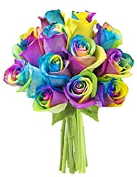 Bouquet of Fresh Cut Rainbow Roses: 12 Rainbow-Swirl Roses - by KaBloom