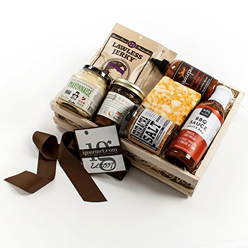 KaBloom Gift Basket Collection: Sriracha Lover's Gourmet Cheese, Meat and Hot Sauce Gift Crate