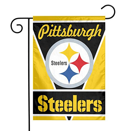 Sorcerer Custom Colorful Garden Flag Football Team Pittsburgh Steelers Outdoor House Yard Flag Vertical Double Sided 12 x 18 Inches Indoor Banner Wedding Party Decor