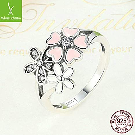 FidgetGear 925 Sterling Pink Daisy Flower Poetic Cherry Blossom Finger Ring Fit Women Gifts Ring Size with 6