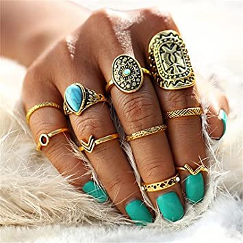 Mjw G Damen Herren Ringe Set Nagel Finger Ringe Turkis Vintage