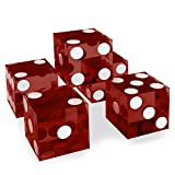 Set of 5 Grade AAA 19mm Casino Dice with Razor Edges and Matching Serial Numbers by Brybelly (Red)
