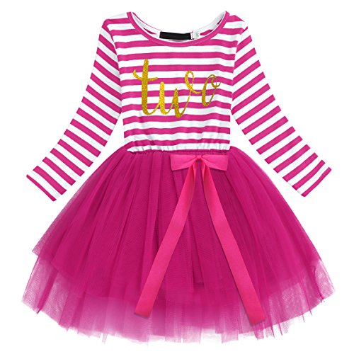 Baby Girls Shinny Stripe Long Sleeve Printed Princess Casual Birthday Tutu Tulle Dress Hot Pink (2 Years) from IBTOM CASTLE