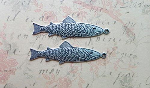 Oxidized Silver Fish Trout Charms (2) - SORAT373 ()