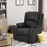 Sophia Traditional Black Leather Recliner with Steel Cup Holders