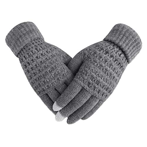 Fakeface Knitted Wool Touch Screen Texting Gloves for All Touchscreen Electronic Devices for Women/Ladies/Girls; Great Gift for Christmas/Birthday/New Year (Grey) (For Electronics New Christmas Gifts)
