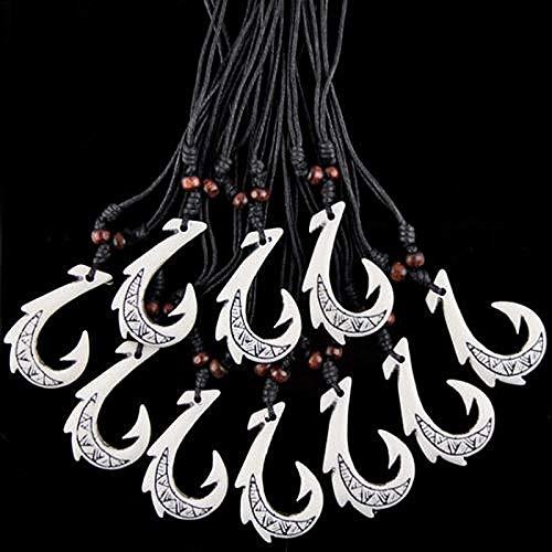 Gimax Jewelry 12 PCS White Simulation Bone Carved Hawaiian Style Maori Fish Hook Pendant Amulet Necklace MN430
