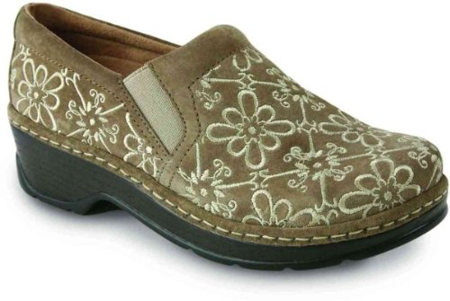 KLOGS USA Naples Casual Slip-On Clogs Taupe Suede Tapestry 8.5 M