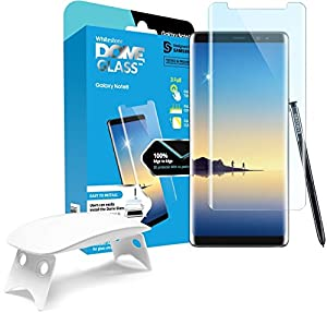 Galaxy Note 8 Screen Protector Tempered Glass Shield, [Liquid Dispersion Tech] 3D Curved Full Coverage Dome Glass, Easy Install Kit and UV Light by Whitestone for Samsung Galaxy Note 8 (2017) from Dome Glass