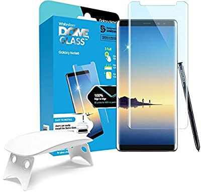 Galaxy Note 8 Screen Protector Tempered Glass Shield, [Liquid Dispersion Tech] 3D Curved Full Coverage Dome Glass, Easy Install Kit and UV Light by Whitestone for Samsung Galaxy Note 8 (2017)